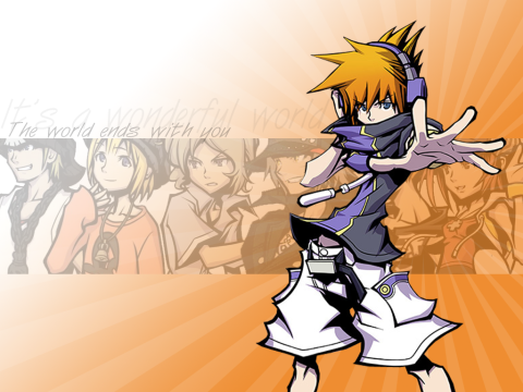 Some simple, orange wallpaper featuring some main characters of TWEWY.