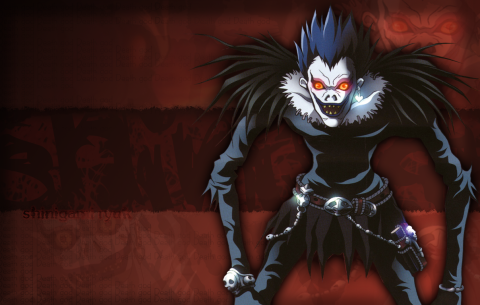 Death God Ryuk poses for a desktop wallpaper.