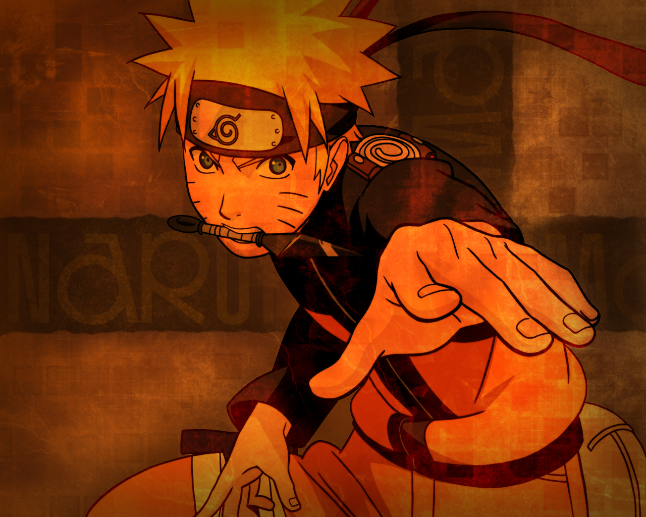 Naruto Strikes Ninja Pose This Fabulous Orange Wallpaper